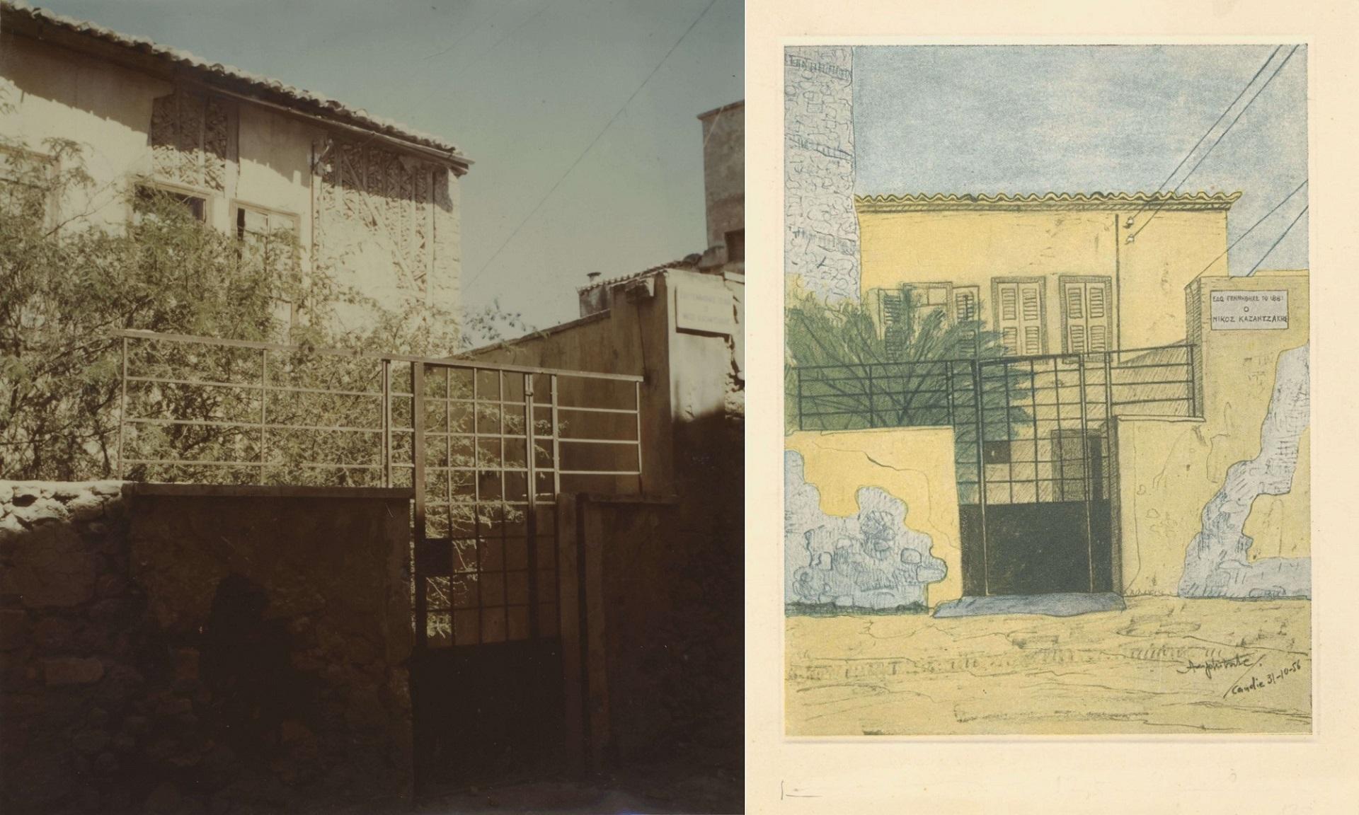 Φωτογραφία (αριστερά) και ζωγραφική απόδοσης (δεξιά) της οικίας Καζαντζάκη στο Ηράκλειο